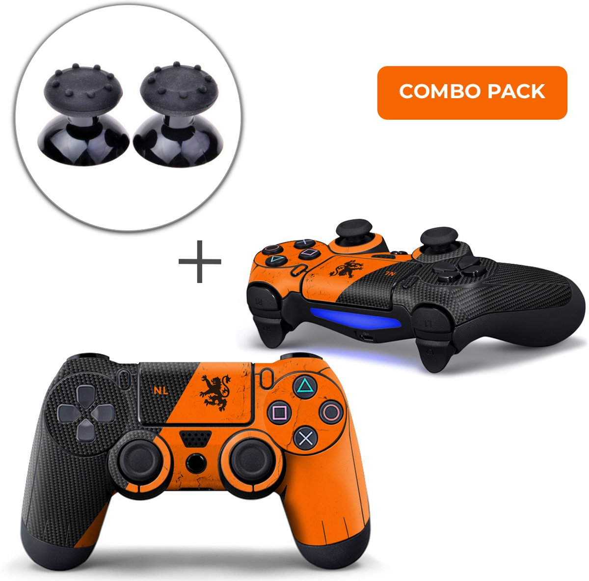 Nederland Combo Pack - PS4 Controller Skins PlayStation Stickers + Thumb Grips Zwart