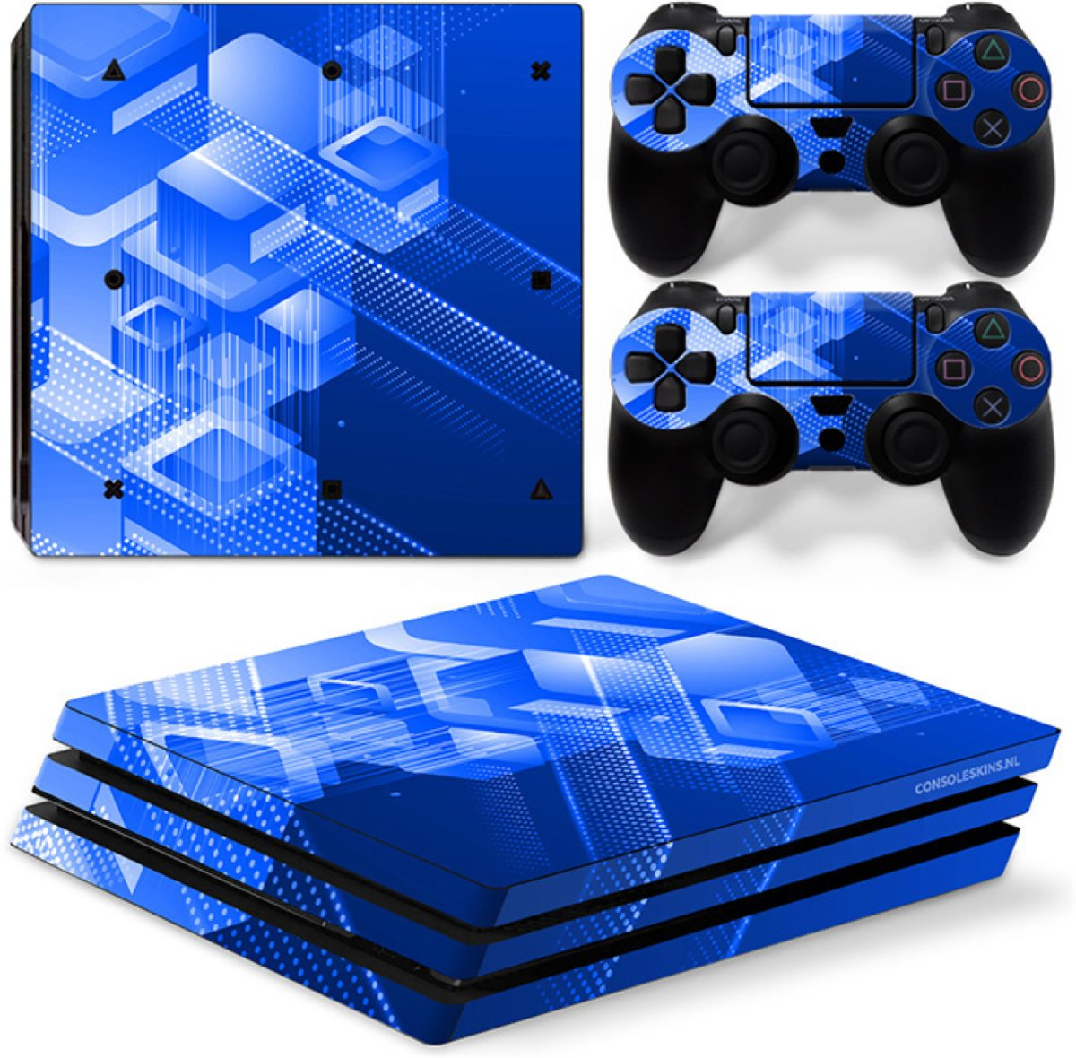 Shapes / Blauw - PS4 Pro Console Skins PlayStation Stickers