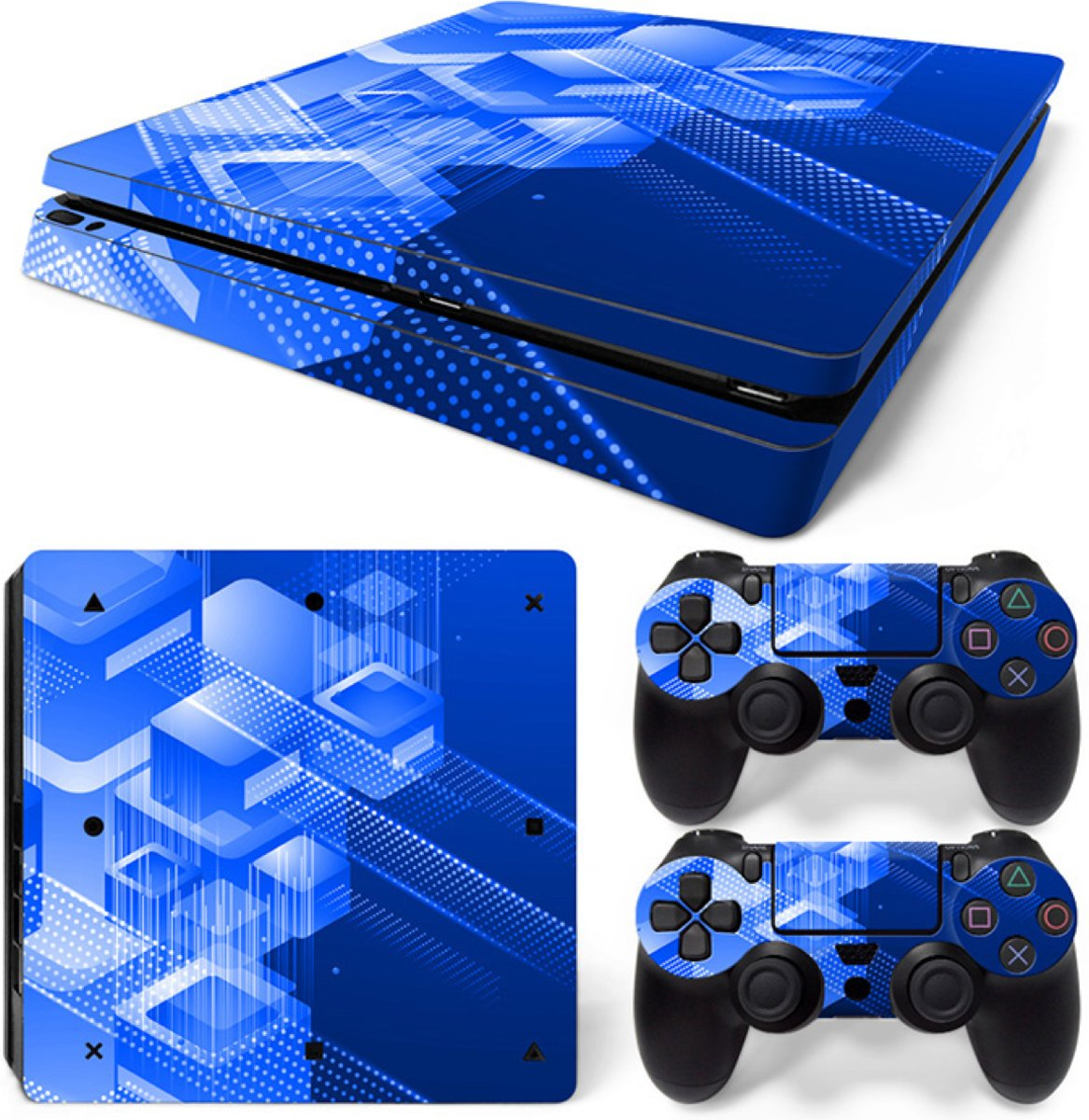 Shapes / Blauw - PS4 Slim Console Skins PlayStation Stickers