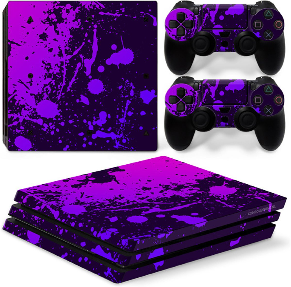 Verfspetters Zwart met Paars - PS4 Pro Console Skins PlayStation Stickers