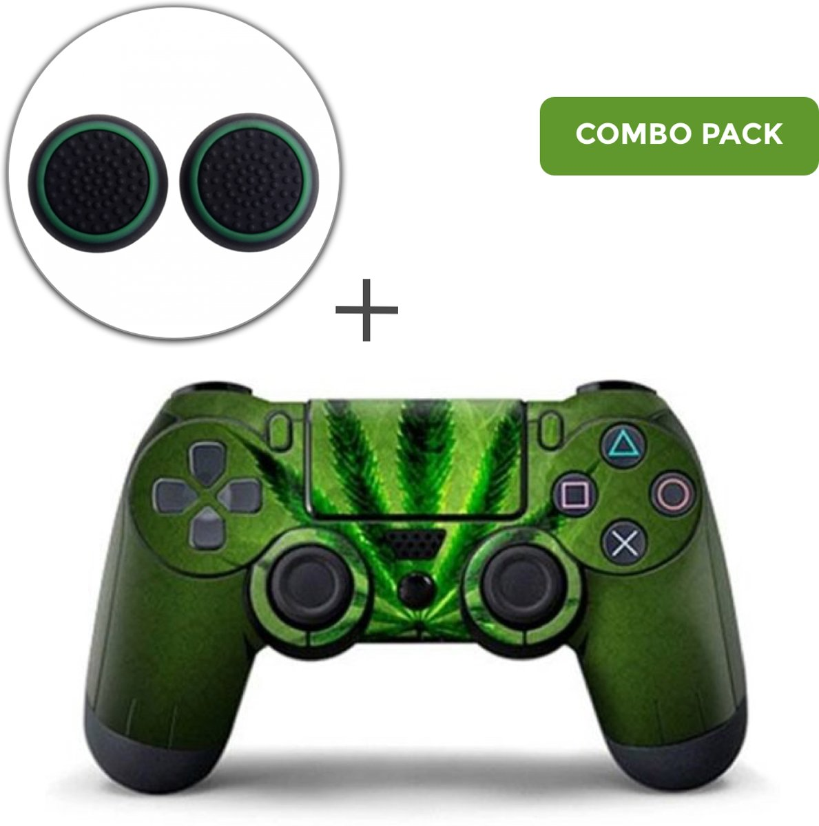 Weed 420 Combo Pack - PS4 Controller Skins PlayStation Stickers + Thumb Grips