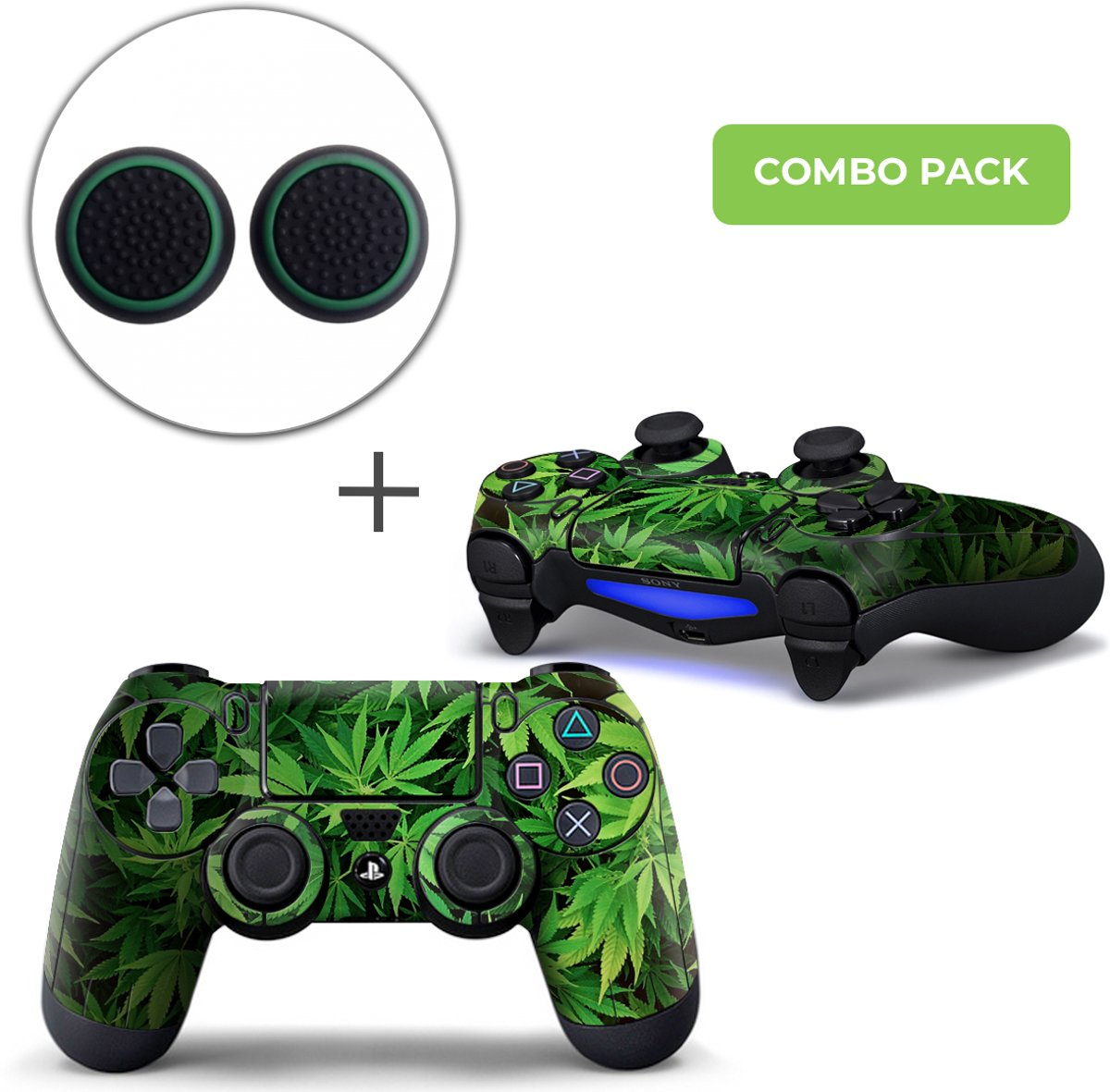 Weed Combo Pack - PS4 Controller Skins PlayStation Stickers + Thumb Grips
