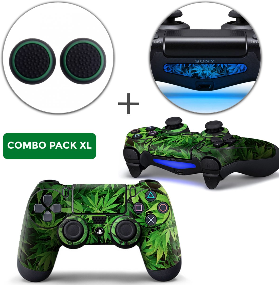 Weed Combo Pack XL - PS4 Controller Skins PlayStation Stickers + Thumb Grips + Lightbar Skin Sticker