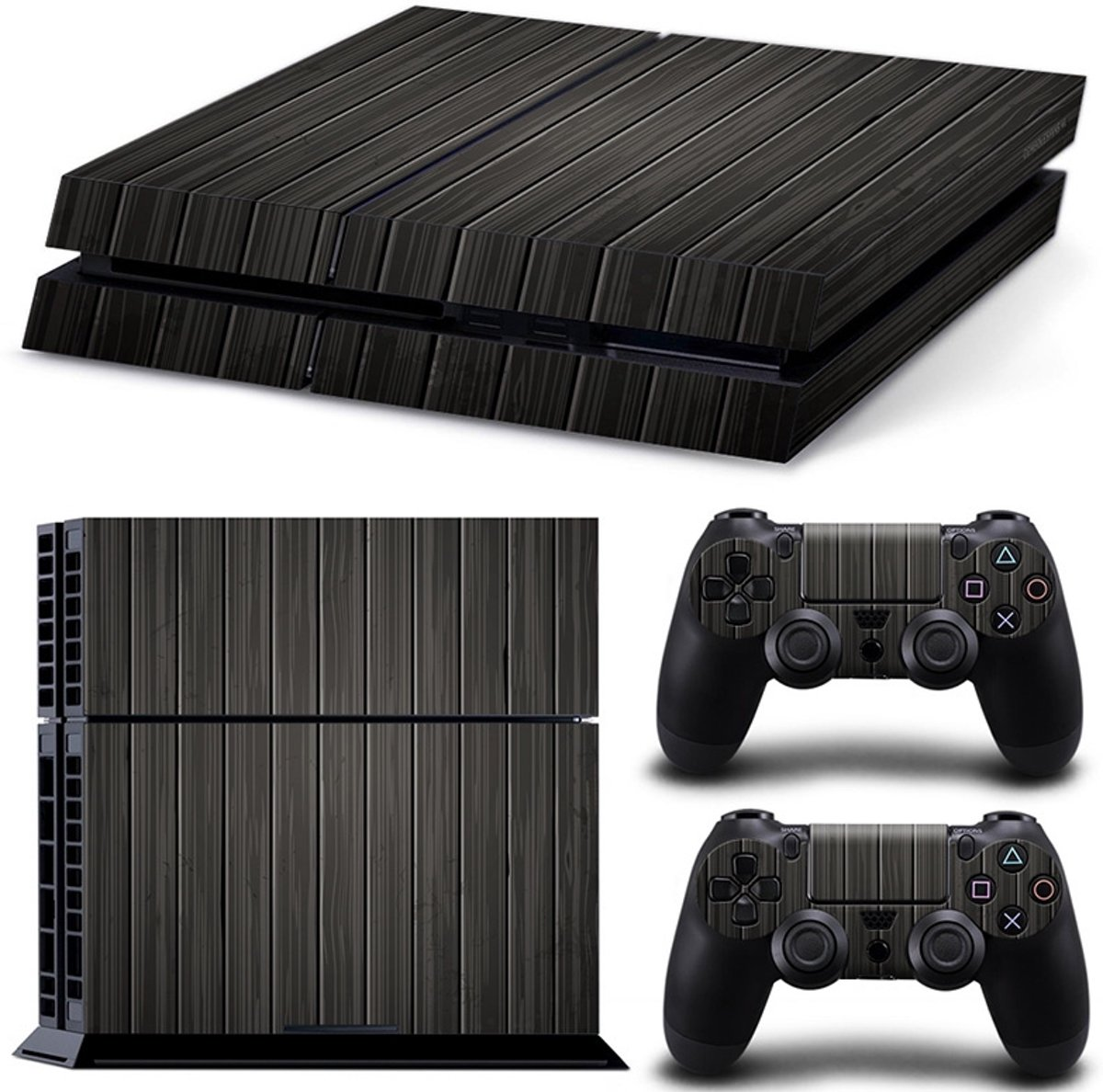 Wood Black - PS4 Console Skins PlayStation Stickers