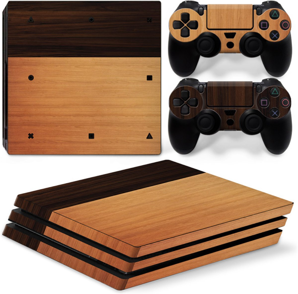 Wood Mix - PS4 Pro Console Skins PlayStation Stickers