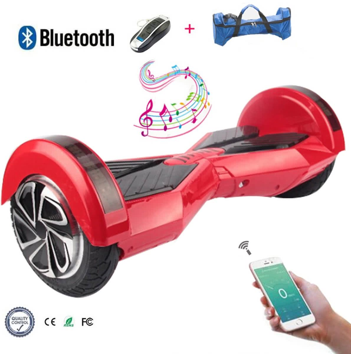 COOL & FUN Hoverboard Bluetooth, Elektrische Scooter Zelfbalansering, Gyropod Connected 8 inch rood zwart
