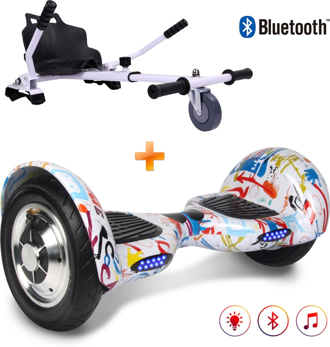 COOL & FUN Hoverboard Bluetooth Off-Road, Elektrische Scooter Zelfbalanserende, gyropod verbonden 10 inch Graffiti design + Hoverkart Wit