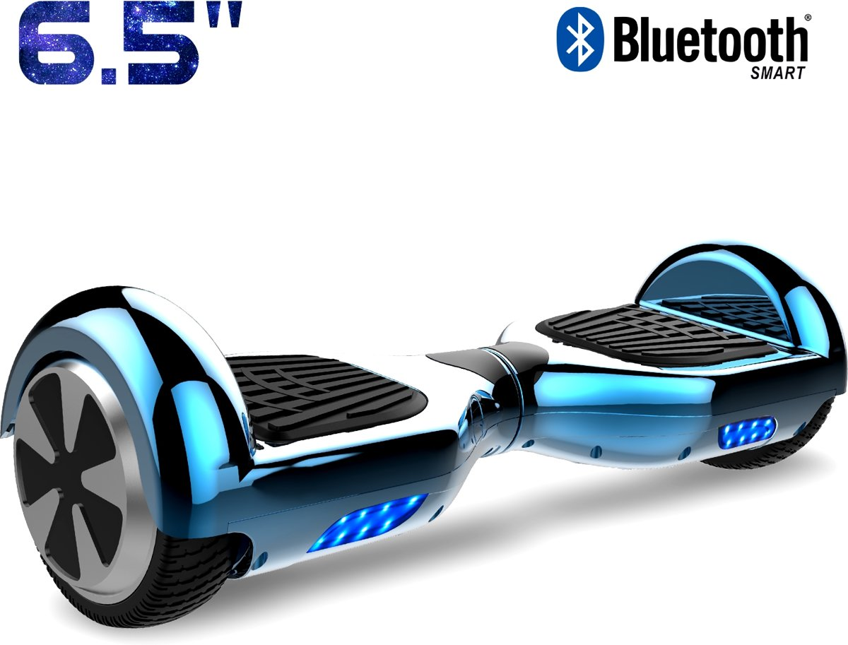 Cool&Fun Hoverboard / Elektrische Scooter Zelfbalansering / Oxboard / LED Verlichting + Bluetooth , 6.5-inch , Chroom Blauw