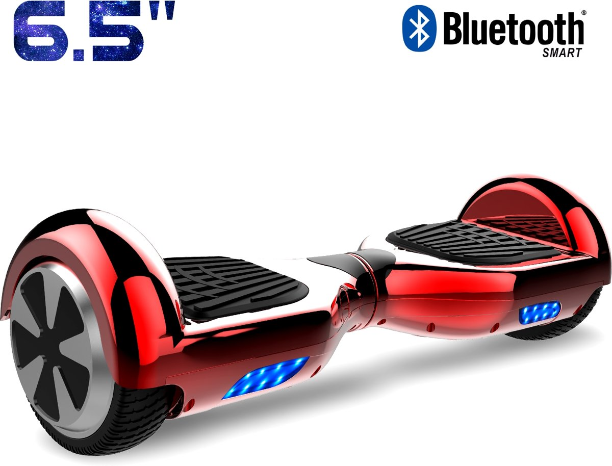Cool&Fun Hoverboard / Elektrische Scooter Zelfbalansering / Oxboard / LED Verlichting + Bluetooth , 6.5-inch , Chroom Rood