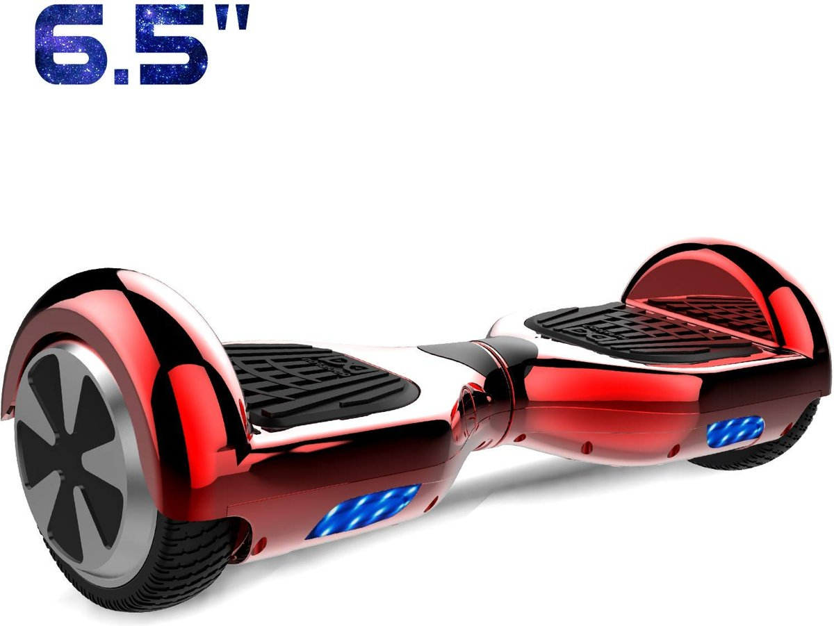 Cool&Fun Hoverboard / Elektrische Scooter Zelfbalansering / Oxboard / LED Verlichting / 6,5-inch Gyropod Chroom Rood