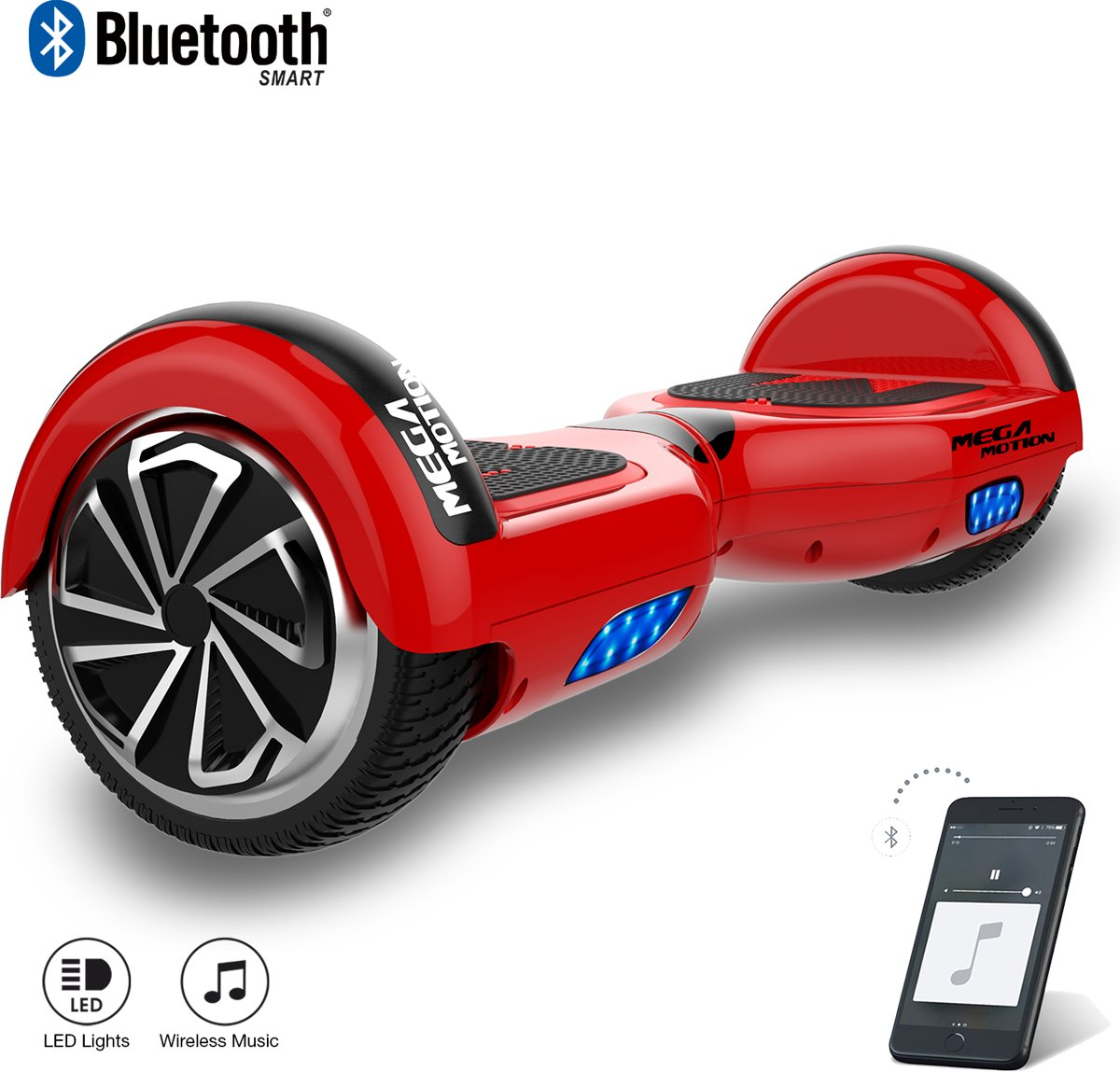 Hoverboard / Elektrische Scooter Zelfbalansering / Oxboard / LED Verlichting + Bluetooth , 6.5-inch ,Rood