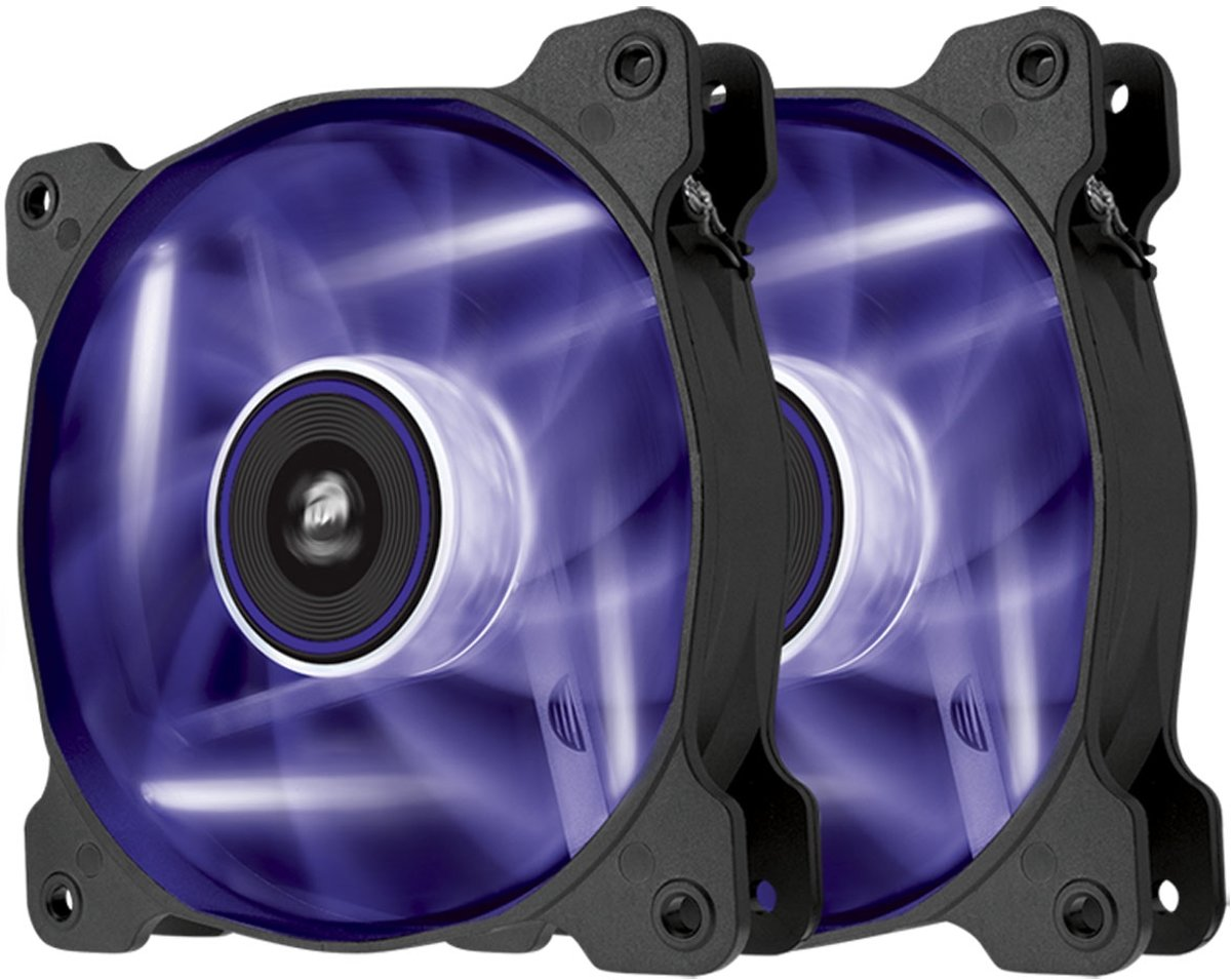 Corsair Air SP120 Static Pressure Edition - Paars LED (duo pack)
