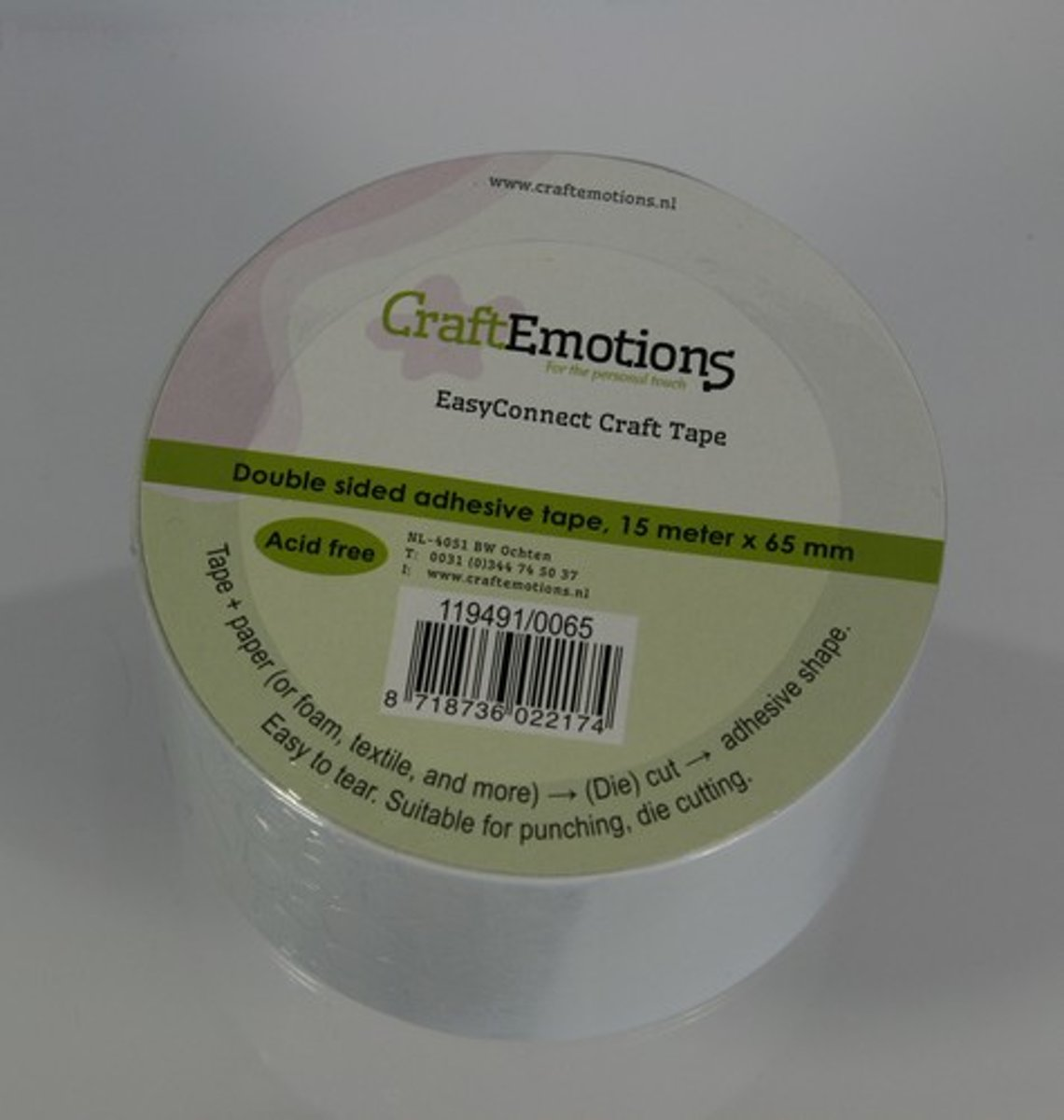CraftEmotions EasyConnect (dubbelzijdig klevend) Craft tape 15m x 65mm.