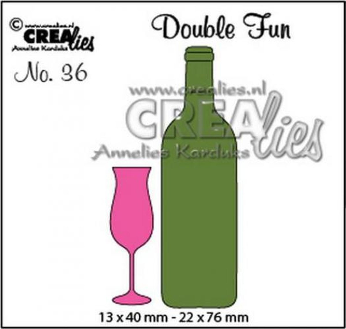 Double Fun no. 36 champagneglas en wijnfles klein CLDF36 13x40 - 22x76mm