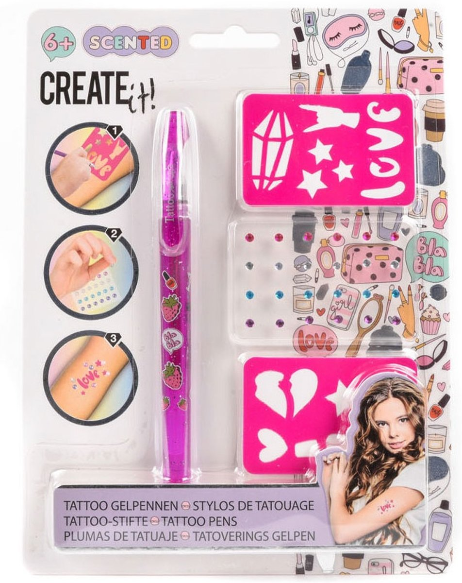 Create It! Tattooset 4-delig Roze Meisjes