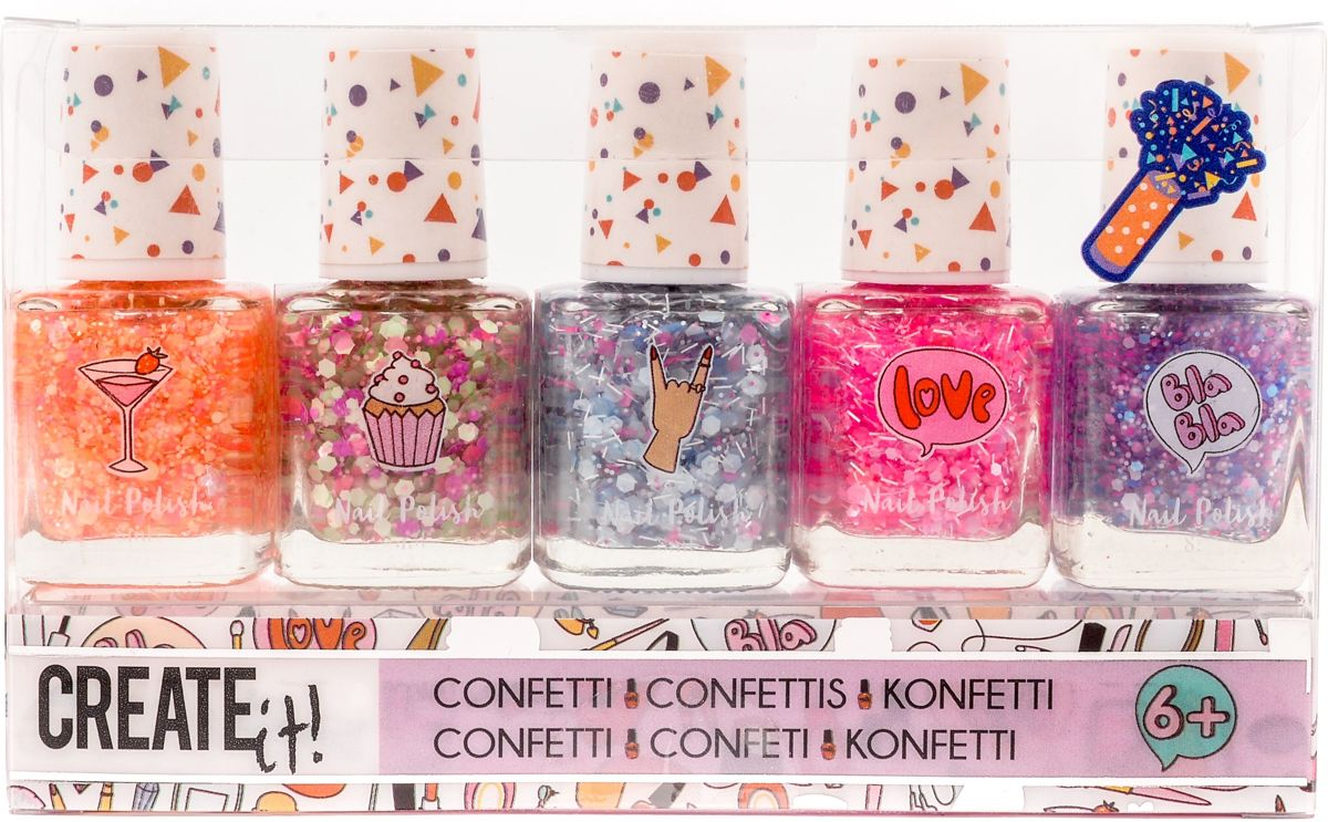 Nagellak Create It confetti 5-delig