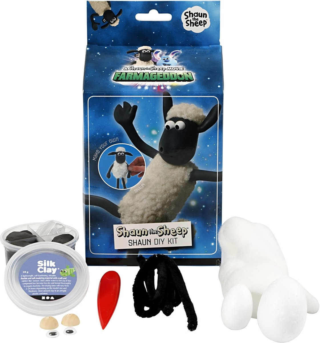 Shaun the Sheep, 1 set, wit, zwart