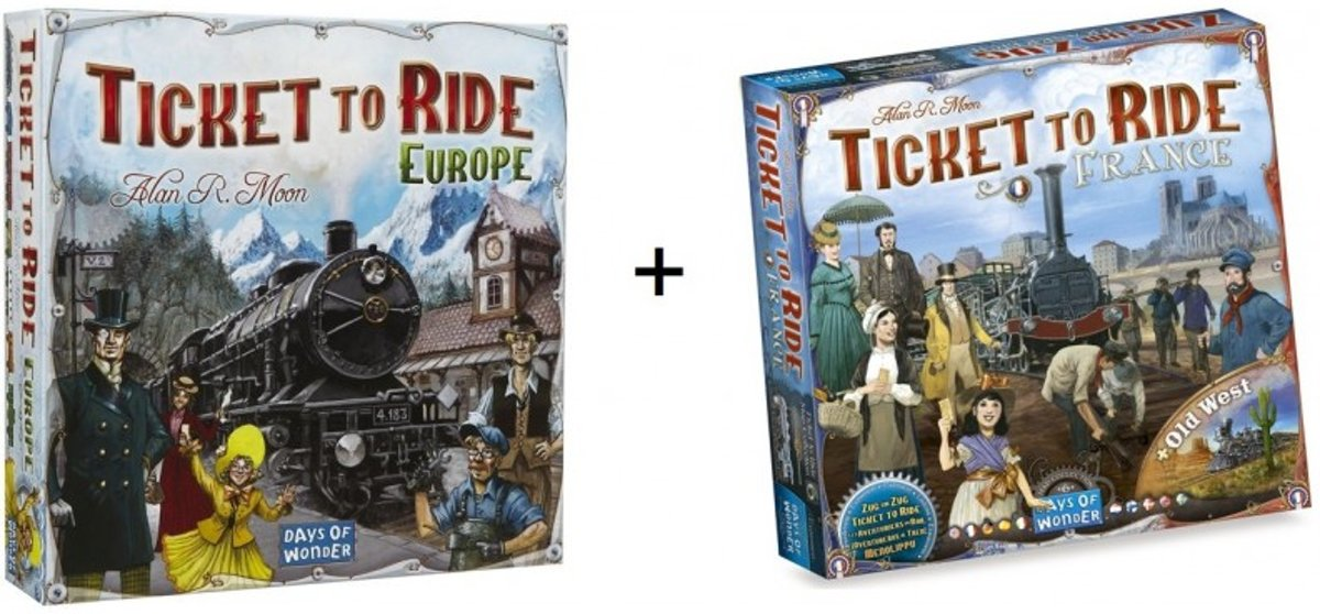 Spel - Ticket to ride Europe / Europa met uItbreiding Map Collection - France / Old West - Combi Deal