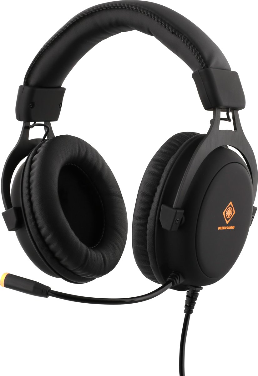 DELTACO GAM-030 Stereo Gaming Headset, 57mm drivers, 2 x 3.5 mm mini-jack, volume op headset, LED verlichting, zwart