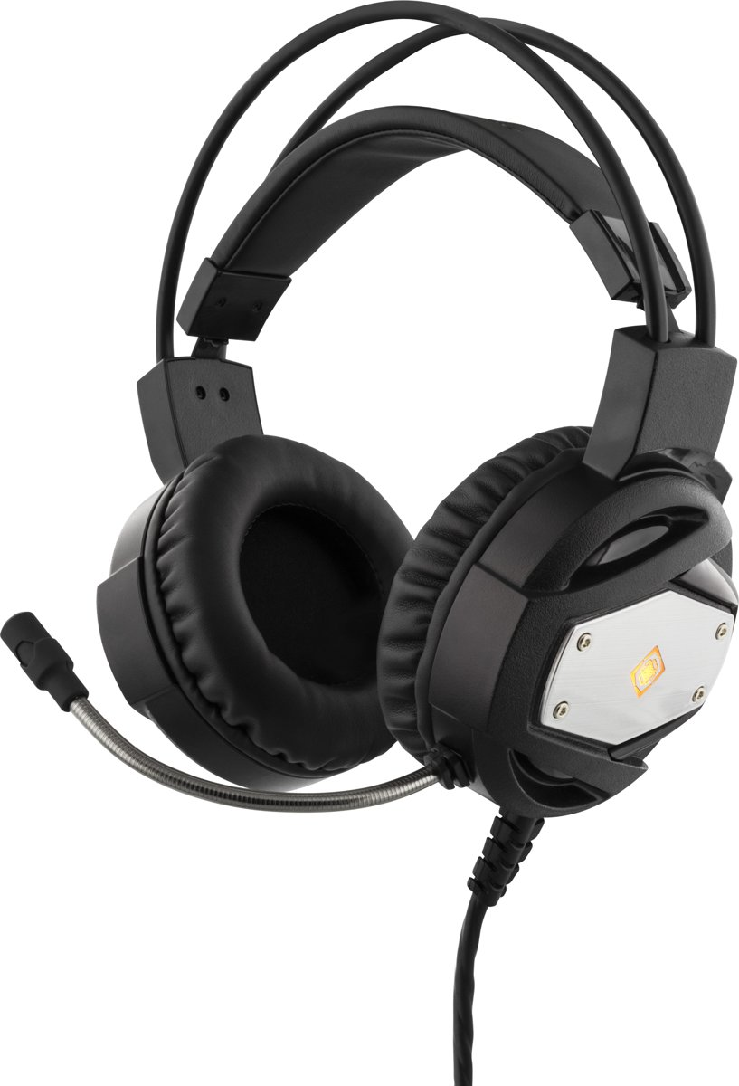DELTACO GAMING GAM-022 Stereo Gamer Headset met oranje LED 2 x 3.5 mm jack en USB power 5 Jaar Garantie zwart-zilver