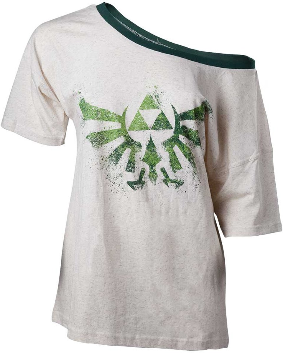 Nintendo - The legend Of Zelda off shoulder dames T-shirt met Triforce logo wit/groen - XL - Games merchandise