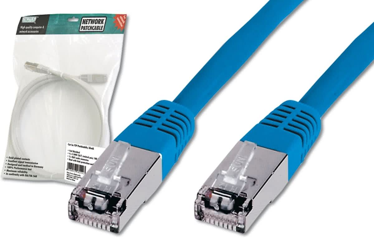 Digitus Patch Cable, SFTP, CAT5E, 3M, blue 3m Blauw netwerkkabel