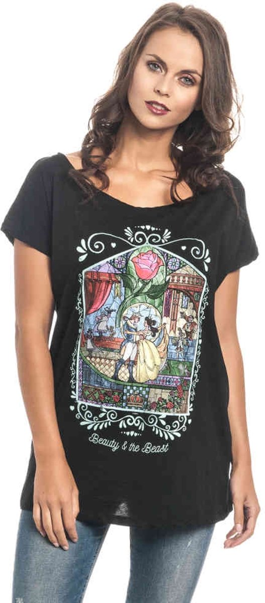 Disney Beauty & The Beast Dames Tshirt -M- Window Zwart