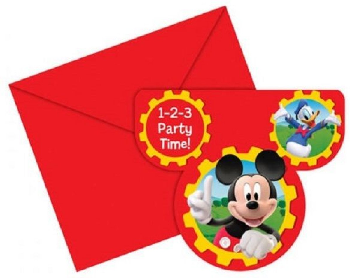 Uitnodiging Mickey mouse clubhouse 6 stuks