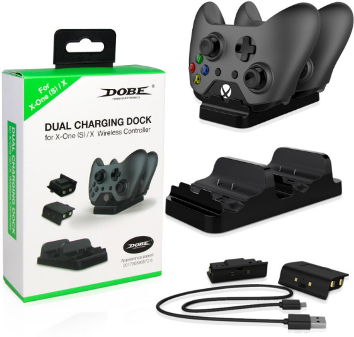 Xbox One S/X Controller charging dock - Dual Battery Pack Accu Controller Dock Charger Oplaad Station - LED USB Dubbel Docking Op Laadkabel- Laadstation