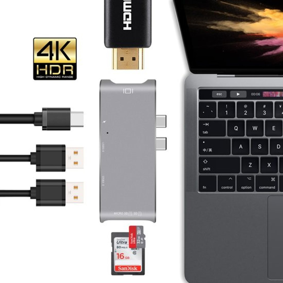 6 in 1 - Aluminium   Thunderbolt 3 - USB-C Adapter   - 4K HDMI - Thunderbolt 3 - Type C   SD/Micro SD - Lezer Type C Poort Voor Apple Macbook Pro / Macbook Pro 2016 / 2017 / 2018 - Space Grey