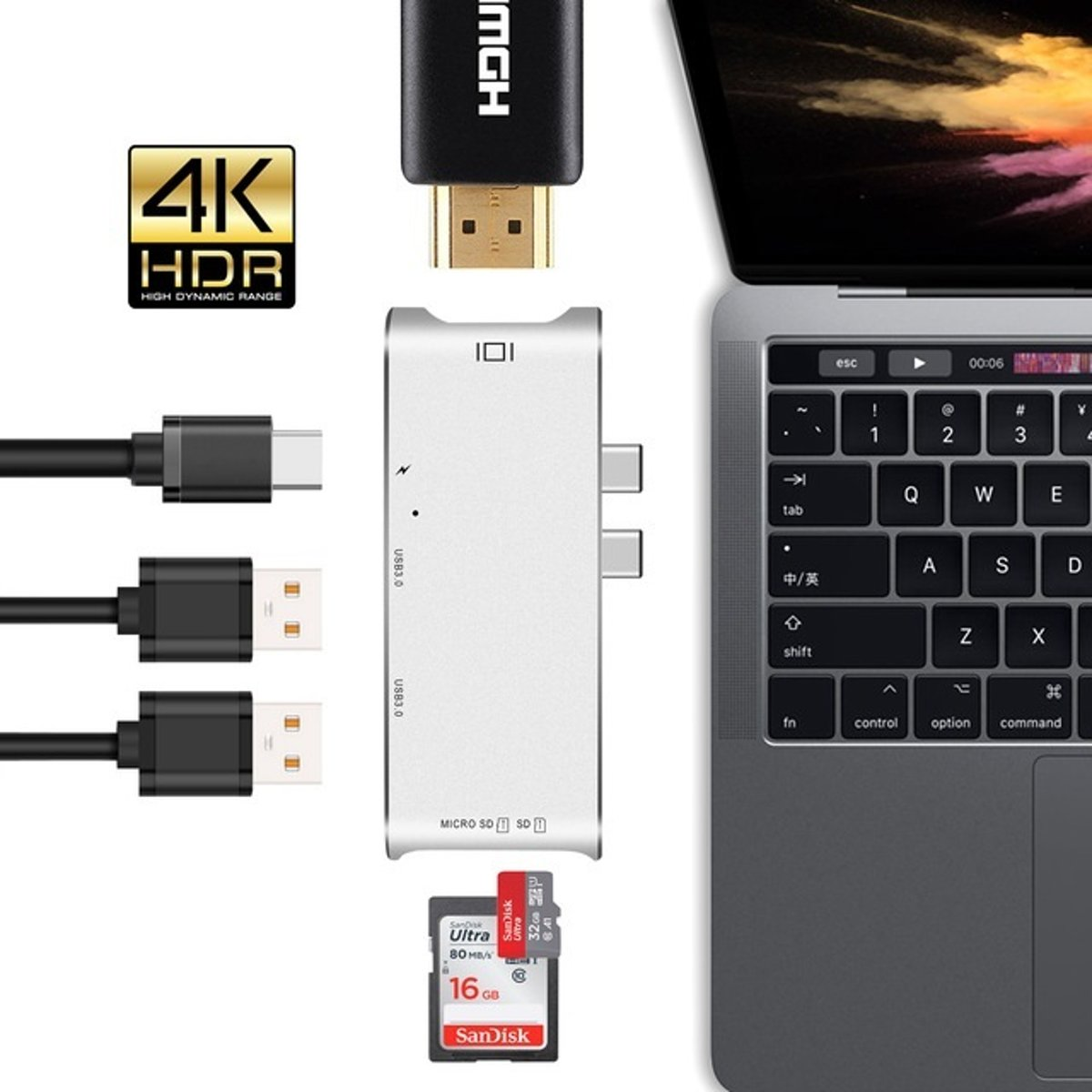 6 in 1 - Aluminium   Thunderbolt 3 - USB-C Adapter   - 4K HDMI -  Type C   SD/Micro SD - Zilver
