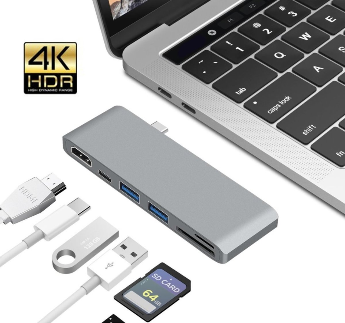 6 in 1 USB C - Type-C   naar HDMI Adapter 4K + 2x USB 3.0 Poort + USB C PD (power delivery) + Micro SD / SD Kaartlezer - USB 3.0   - Voor Macbook Pro / Nintendo Switch / Asus Zenbook / Lenovo Yoga / HP Specte / Surface Book Laptop - Space Grey
