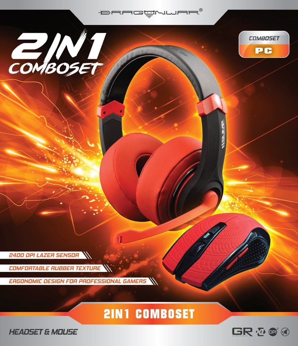 Dragonwar 2 in 1 Combo Set Gaming Headset Mouse Red Edition