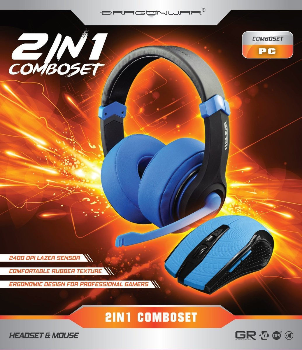 DragonWar 2in1 Combo Set (Gaming Headset + Mouse) Blue Edition