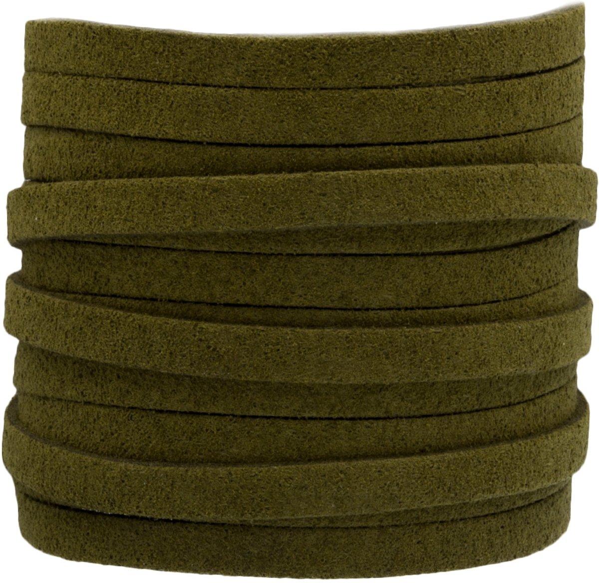 Faux Suede Veter (5 mm) Olive Green (5 Meter)