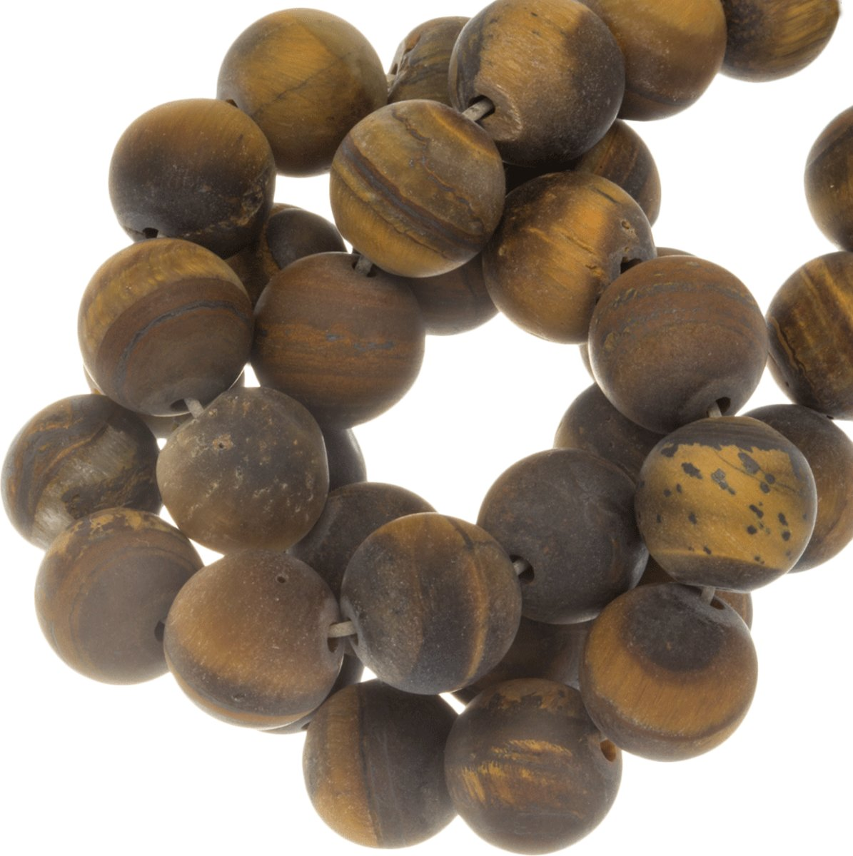 Tiger Eye Frosted Kralen (10 mm) 38 Stuks