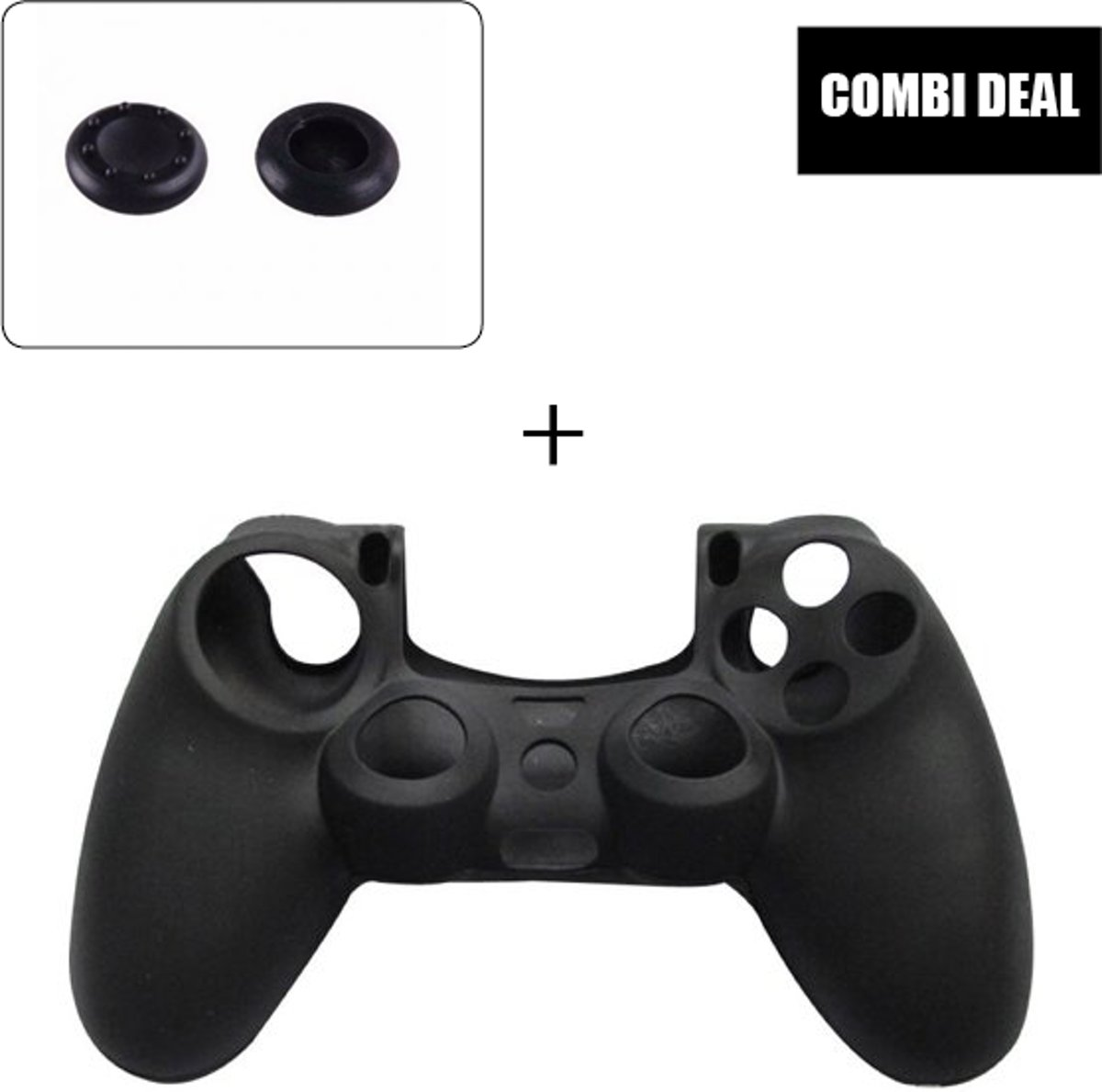 Silicone cover met thumb grips voor de PlayStation 4 controller - Antislip - Silicone controller skin - PS4 - Zwart