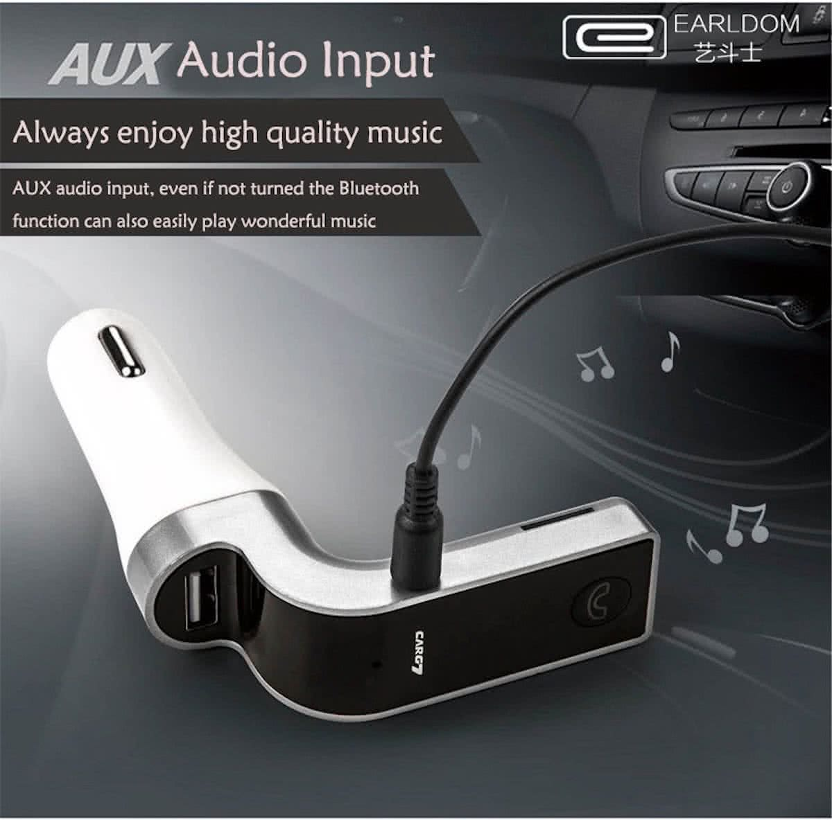 Bluetooth MP3 speler - autolader - met Micro SD slot - inclusief Aux Kabel - Zilver
