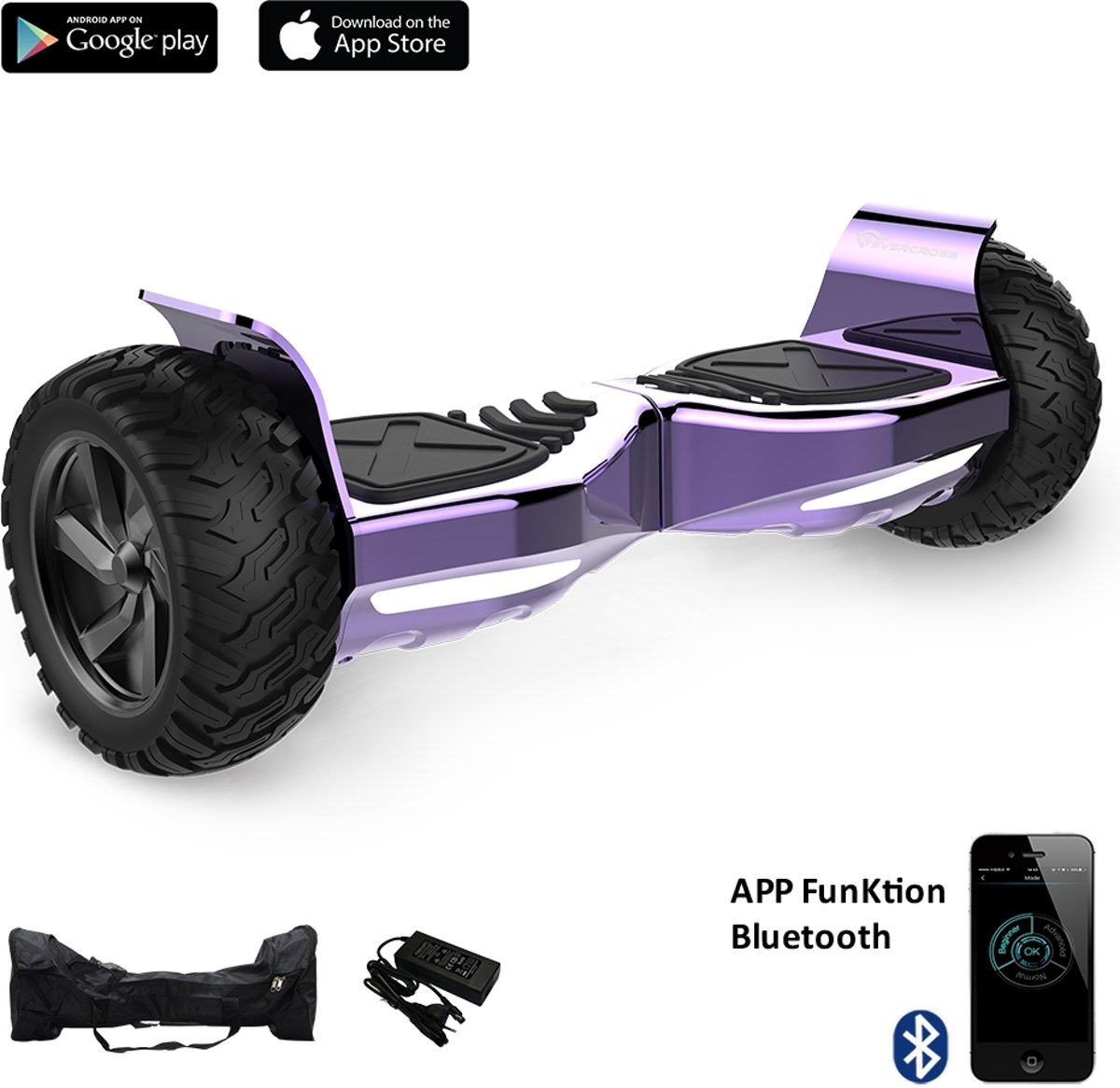 Evercross Challenger Basic 2018 Best 8.5 inch SUV Hoverboard met APP Functie 700W Motion V.5 Bluetooth speakers en met TAOTAO moederbord