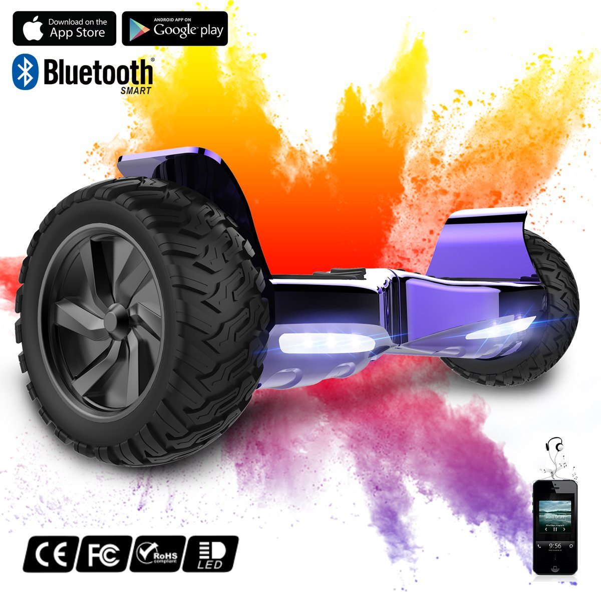 Evercross Challenger Basic 2019 Best 8.5 inch SUV Hoverboard met APP Functie 700W Motion V.12 Bluetooth speakers en met TAOTAO moederbord - Paars Chroom