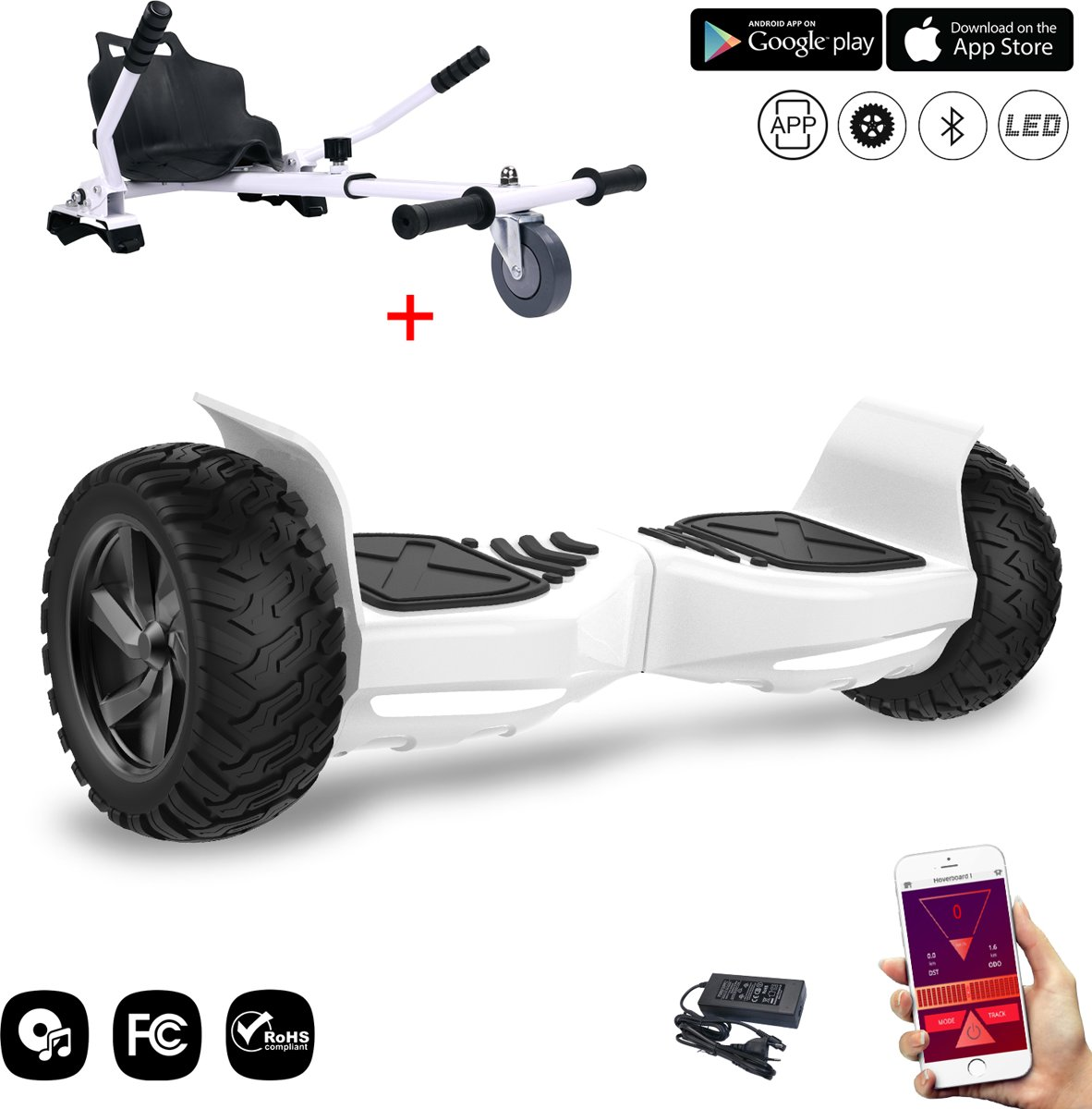 Evercross Challenger Basic 2019 Best 8.5 inch SUV Hoverboard met APP Functie 700W Motion V.12 Bluetooth speakers en met TAOTAO moederbord - Wit + Hoverkart Wit