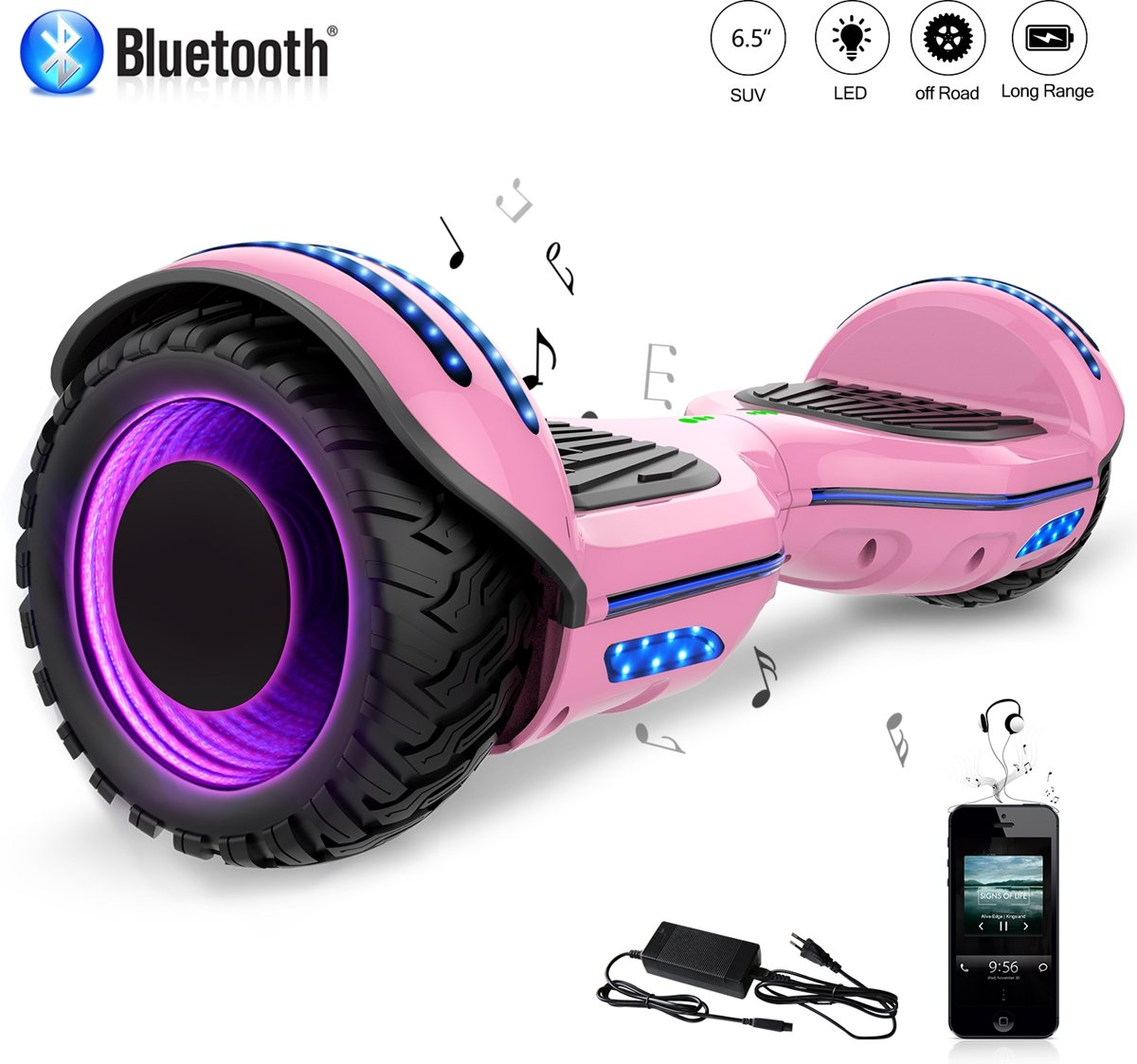 Evercross Hoverboard SUV 6.5 inch met Flits Wielen, Gyropode Off-Road met TAOTAO moederbord, Bluetooth Speaker, LED-lamp, CE gecertificeerd