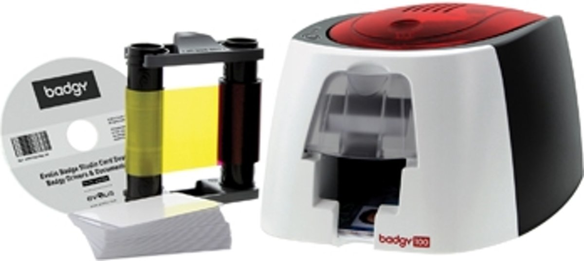 BADGY Badgeprinter Badgy Plastic kaart printer badgy100 1 kleur lint voor 50 prints 50 dikke blanco ...