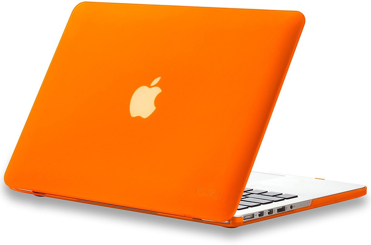 Hardcover Case Voor Apple Macbook Pro 15 Inch 2016/2017 (Retina/Touchbar) - Rubber Crystal Hardshell Hard Case Cover Hoes - Laptop Sleeve - Oranje