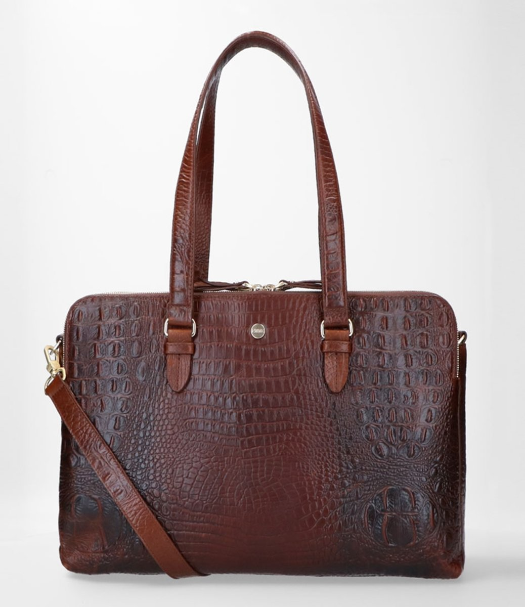 FMME Charlotte Laptoptas 13.3 Croco Brown