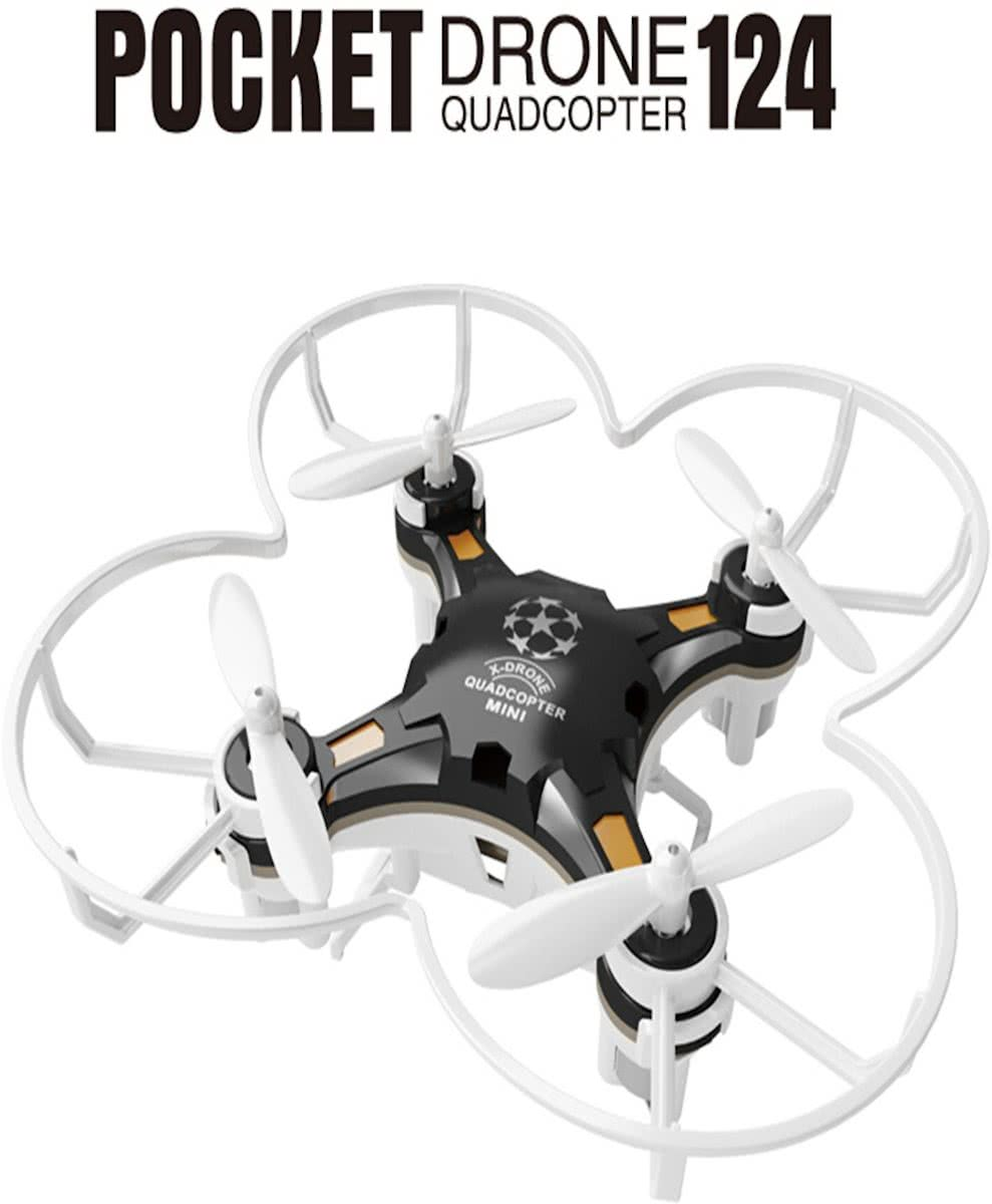 Zwarte Quadcopter mini FQ777-124 Pocket Drone