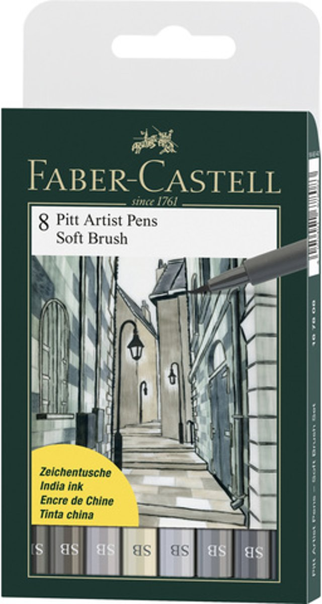 Tekenstift   Pitt Artist Pen Soft Brush etui 8 stuks assorti