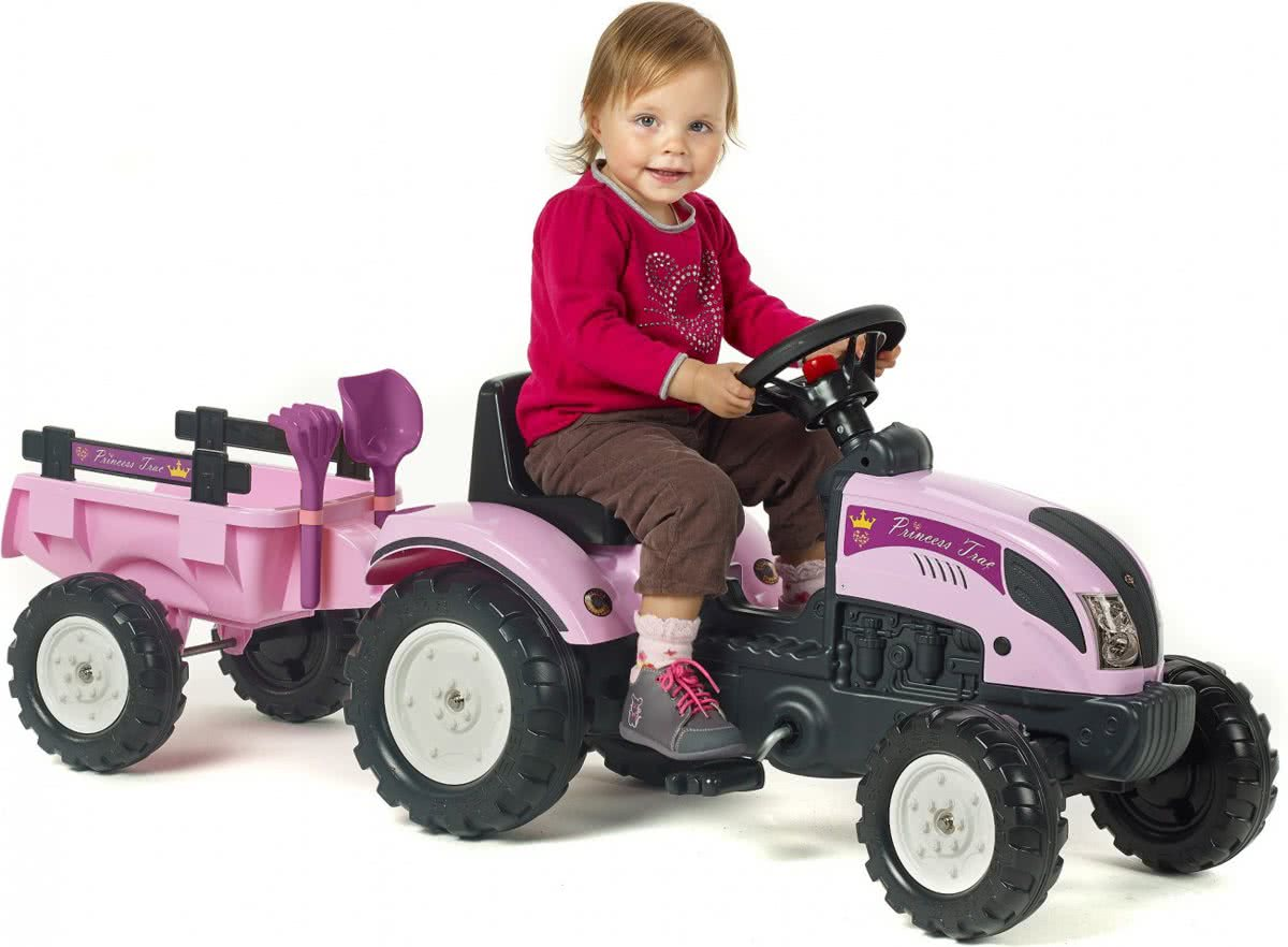 Princess Trac roze traptractor incl. aanhanger