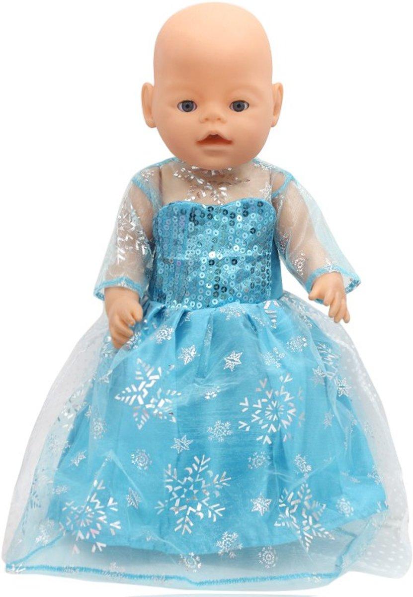 c974ef7f3c33cf Prinses Elsa jurk voor pop zoals Baby Born of andere poppen met lengte van  circa 43 CM - Prinsessen jurkje