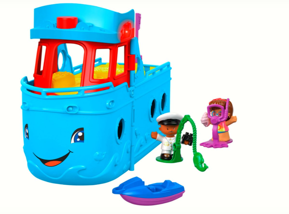 Fisher Price Little People Schip  blauw met reddingsboot